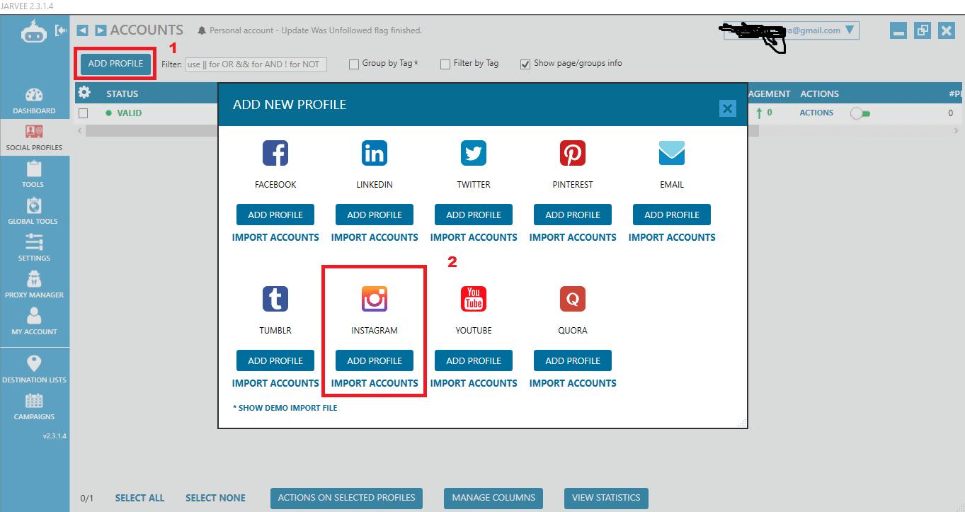 import accounts on Jarvee