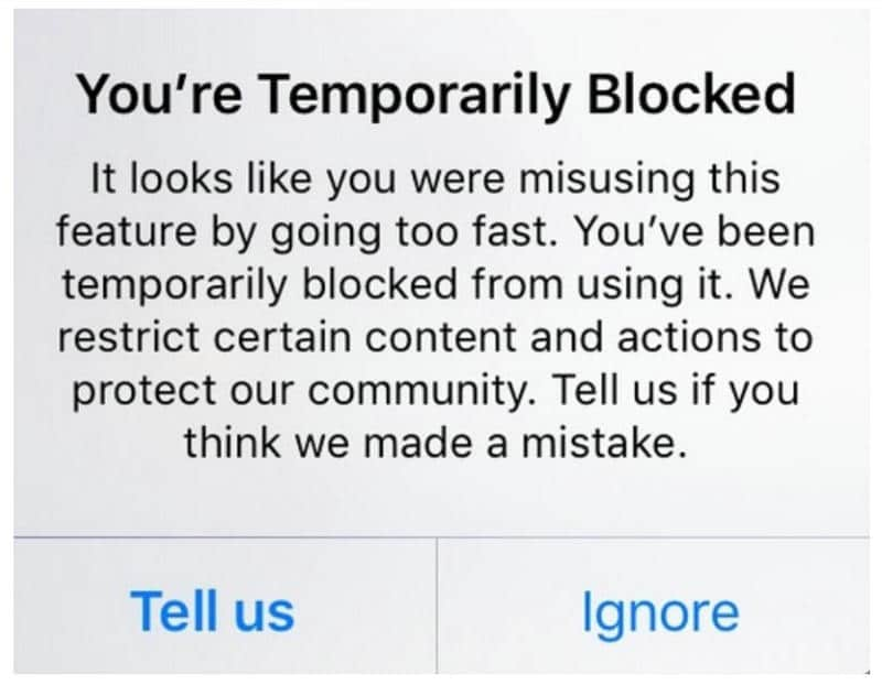 instagram temporarily blocked