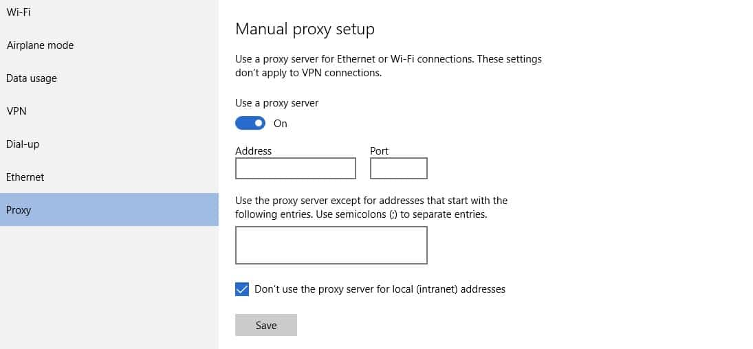 Manual Proxy Setup