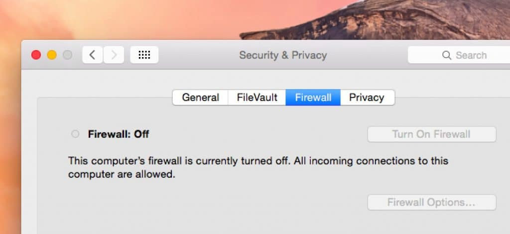 Turn Off Firewall