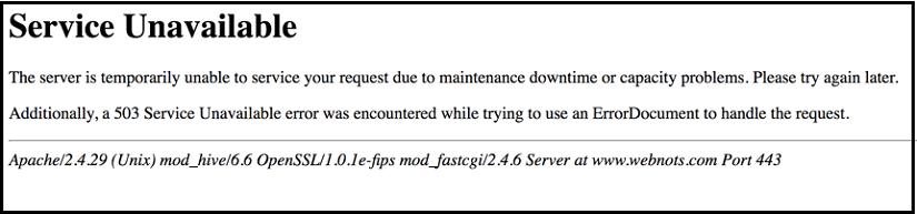 503 –Service Unavailable