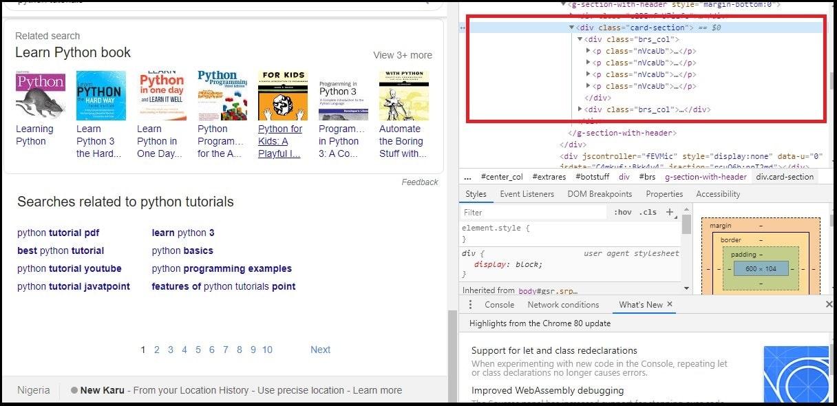 Inspect HTML of SERP