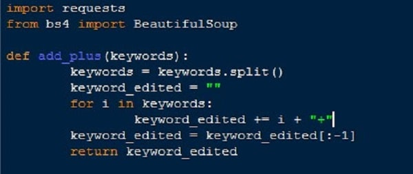 helper function for adding plus to keywords