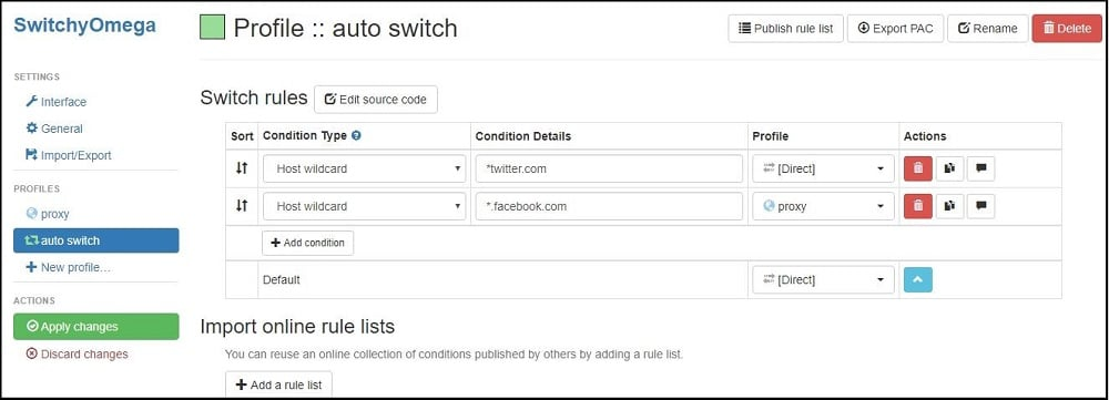 SwitchyOmega Auto Switch interface