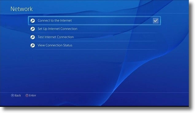 PS4 Internet connection