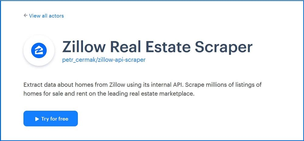 Zillow apify Real Estate Scraper