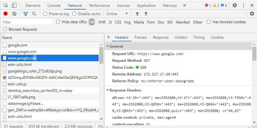 HTTP Headers developer tool