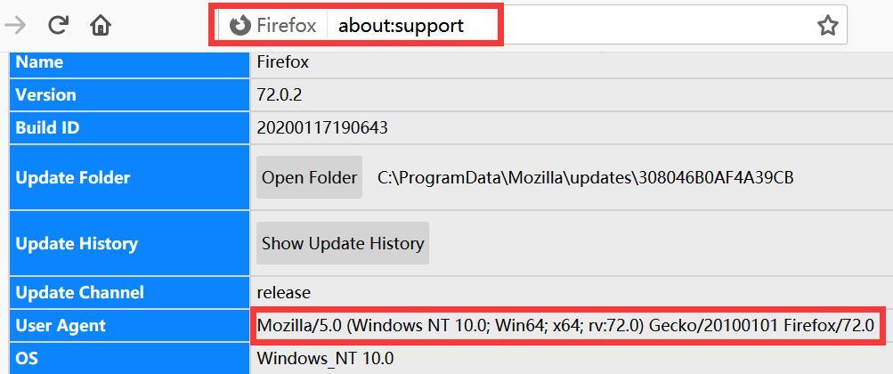 Firefox User agent