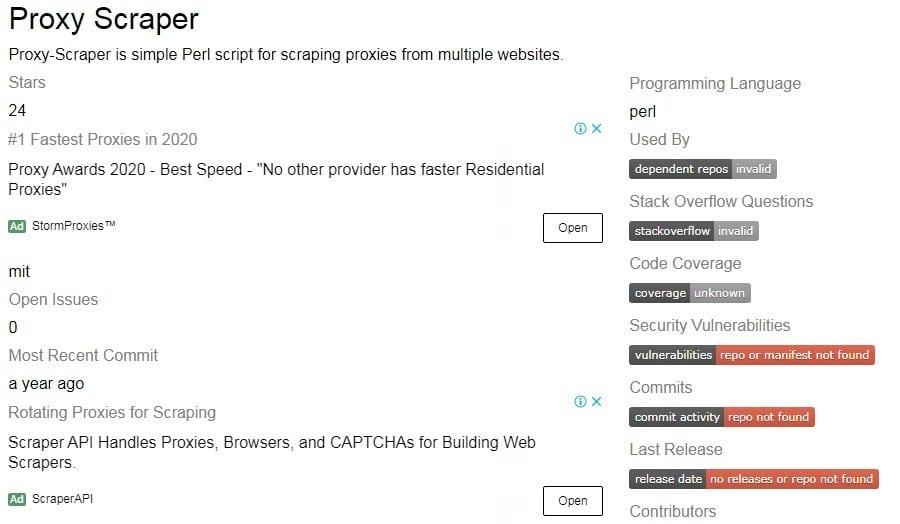 Proxy Scraper-Perl Homepage