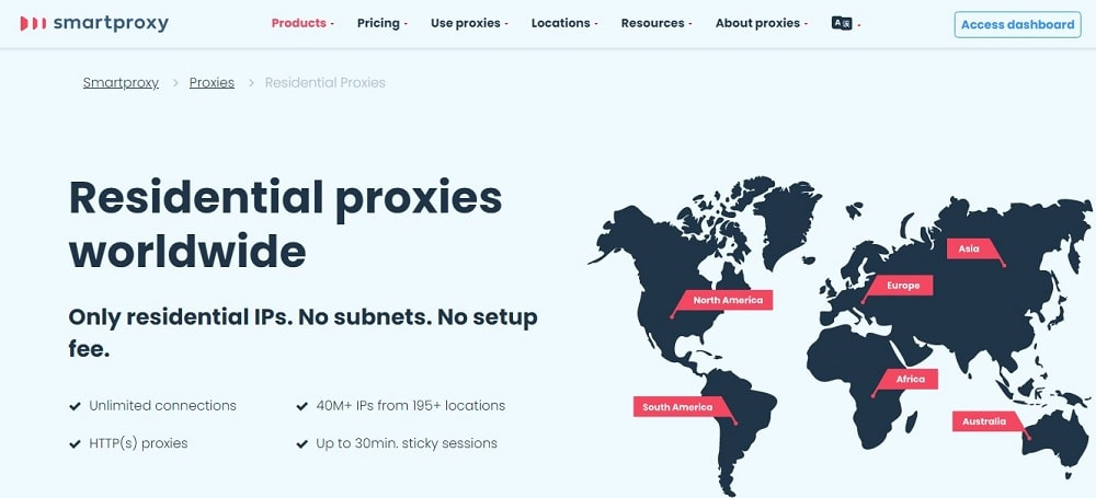 Smartproxy Residential Proxy Homepage