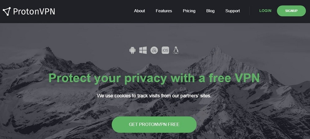 Protonvpn overview of Homepage