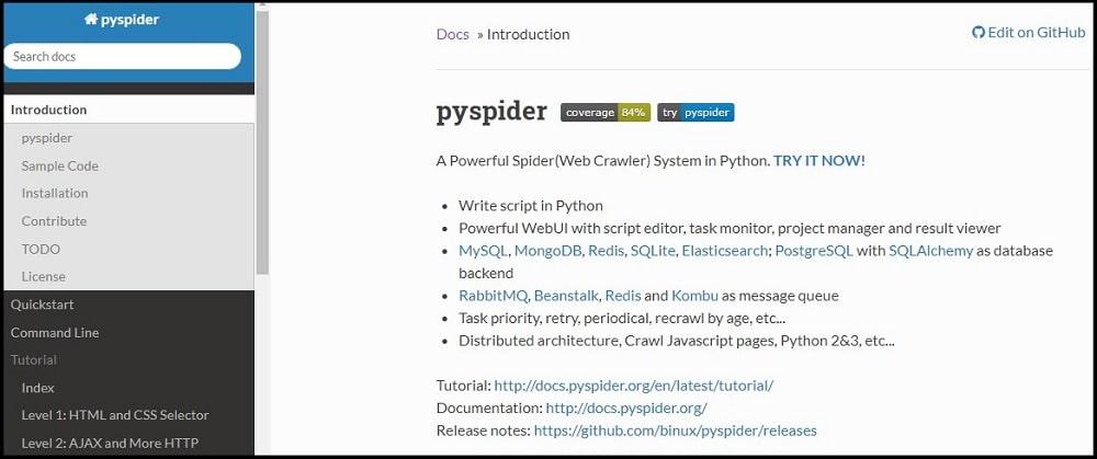 Pyspider Homepage