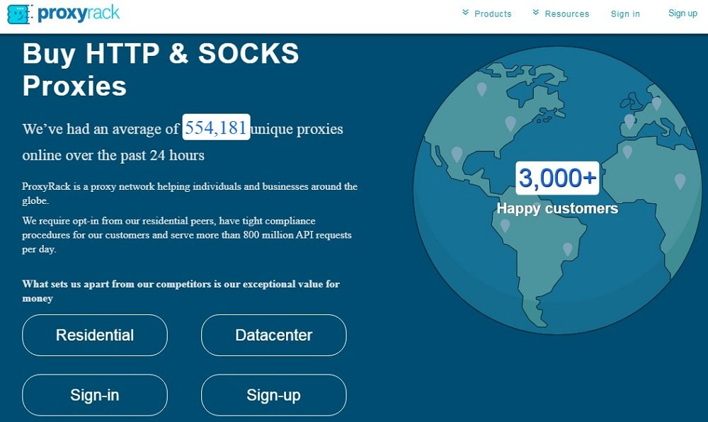 Proxyrack Homepage
