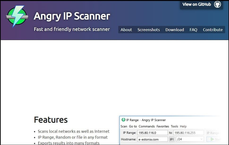 Angry IP Scanner Homepage