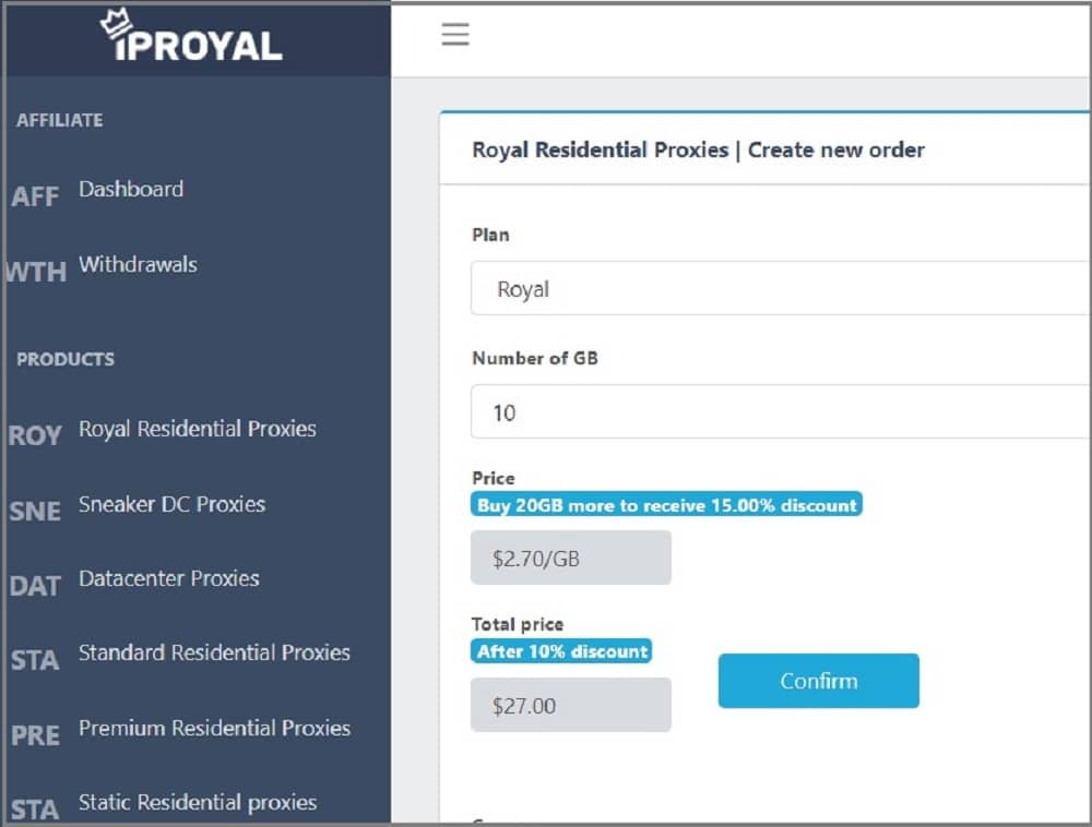 IPRoyal price