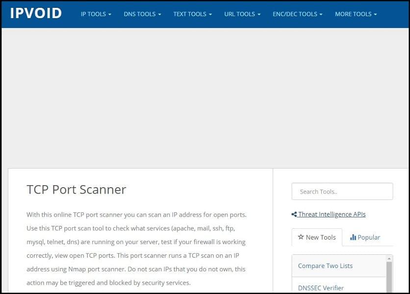 Ipvoid TCP Port Scanner Homepage