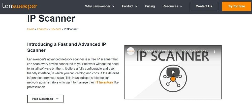 Lapsweeper IP Scanner Homepage
