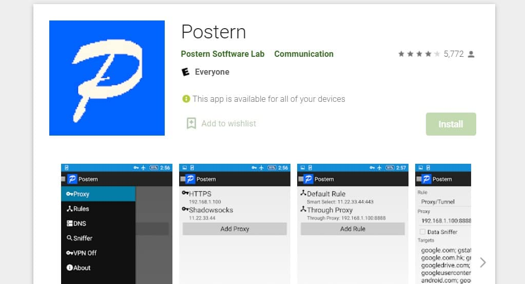 Postern Proxy Client Application