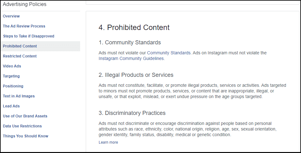 Violation of Facebook Ads Policy